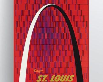 Fly TWA St. Louis Gateway Arch Travel Poster by David Klein 20x30 & 24x36 Poster Paper or Giclée Fine Art Print w/ Free Shipping