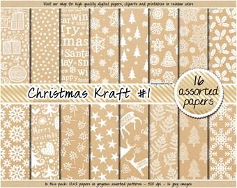 SALE Christmas Kraft digital paper Christmas digital paper printable Kraft labels Christmas tags Kraft Christmas paper Kraft wrapping paper
