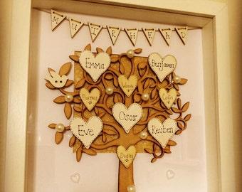 Personalised bespoke Family tree box frame unique design