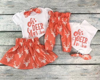 Matching big sister little sister outfits/coming home outfit/ baby girl/Oh Deer I'm here set