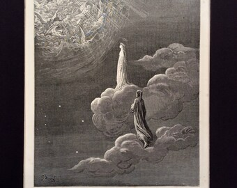 1870 DANTE'S PARADISO  Engraving Gustave Doré Angel Halo Heaven Bible
