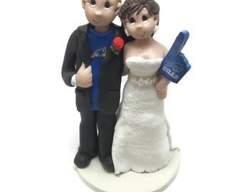 Custom wedding cake topper, Sports fans wedding cake topper, Bride and groom cake topper, Mr and Mrs cake topper, personalized cake topper