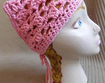 Pink Rose Neck Kerchief, Tie On Bonnet, USA Grown Cotton