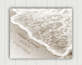 Name in the Sand Standout Print, Personalized Wedding Gift, Unique Wedding Gift, Beach Wedding, Wedding Print, Ready to Hang Wedding Art