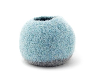 WOOLY FELTED Pod Bowl - circular, pod bowl - light blue and med grey 11