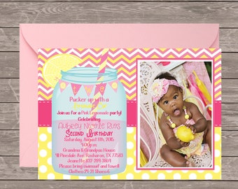 Pink lemonade Birthday Invitation Printable | Lemonade stand photo | Pucker Up for a pink lemonade | Chevron Mason Jar | Pink Lemonade Party