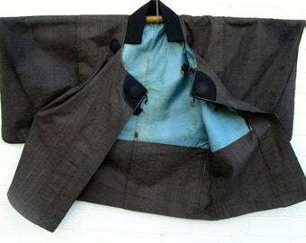 "Japanese ""Dochugi"" ..Travelling Coat (Edo Period)cotton and indigo silk lining.handwoven. Rare collectors item"