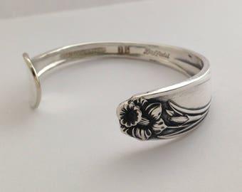 Petite Spoon Bracelet. Daffodil 1950. Cuff Bracelet.  Spoon Jewelry. Silverware Jewelry. Silver Bracelet.