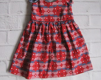 Fourth of July Dress ~ Patriotic Sun Dress ~ 12-18 Month Red White and Blue Dress ~ Patriotic Outfit ~ Sundress ~ Summer Sun Dress