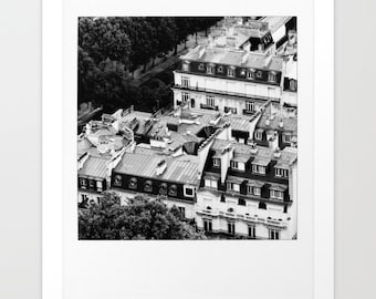 Bird's Eye View of Paris Rooftops in Black and White - Travel Photography - 8 x 9 - 13 x 15 - 17 x 20 - 22 x 26 - 28 x 33 - Paris Prints