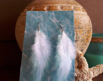 Feather Earrings, White and Baby Blue Feather Earrings, Boho Earrings, Boho Jewelry.