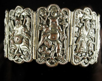 Antique Chinese Bracelet  Figural Goddess Immortals Chinese Export Tourist jewelry 8 Gods signed oriental Asian