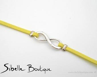 Infinity bracelet suede - yellow (B21-11)