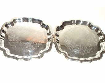 Vintage Pair of 9 3/4 Inch Silverplate Trays Excellent