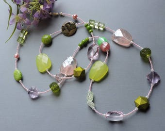 Long necklace, extra long necklace, Spring necklace, pink and green, Pink, Spring Green, Green, Feminine, Flapper, 1920's