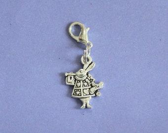 Silver Alice in Wonderland Rabbit Purse Charm,Silver Rabbit Charm,Rabbit Bag Charm,Silver Charm,Bunny Charm,Rabbit Bracelet Charm,Rabbits