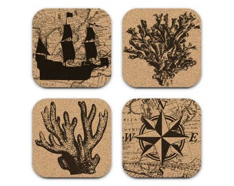 MAP SHIP COMPASS Rose Coral Nautical Coastal Cork Coaster Set Of 4 Home Decor Barware Decoration