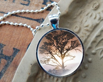 Tree Necklace, Tree Pendant, Tree Jewelry, Nature Jewelry, Tree of Life Pendant, Tree in Mist Necklace