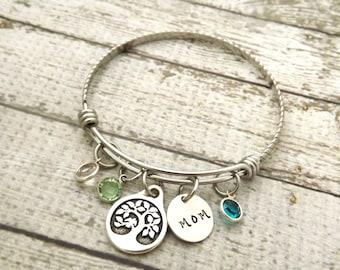 personalized bracelet-personalized bangle-mothers bracelet-gift for mom-bangle bracelet-tree of life jewelry-grandmother-nana bracelet