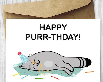 Printable Birthday Card, Birthday Cat Card DIY, Happy Purr-thday Cat Birthday Cards, Funny Quirky Printable Birthday Card Instant Download