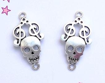 2 large 36 x 18 mm treble clef silver bones skeleton skull connectors