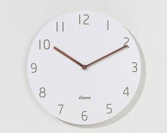 minimal clock/modern clock/wooden minimal decor clock/wood Scandinavian clock/wall art color white wood/Round Clock/Living Room Decor clock