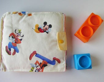 Quiet book, sensory Book in fabric, book with activity, busy book, gift idea, travel, Christmas, Montessori, Mickey Mouse