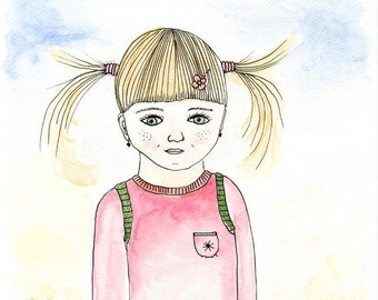 Little girl on the first day of school - girl's room art - original watercolor and ink illustration