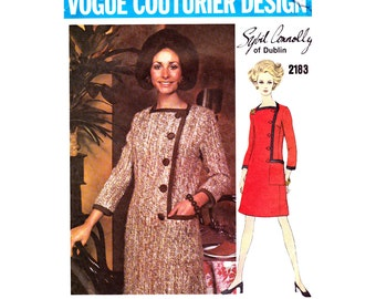 Vogue Couturier Design 2183 SYBIL CONNOLLY Womens Asymmetric Buttoned Coatdress 60s Vintage Sewing Pattern Size 10 UNCUT Factory Folds