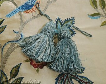 Blue cotton key tassels Upholstery trimming Multicolor tassels Pillow embellishment Pair of rustic tassels for furniture Vintage home decor