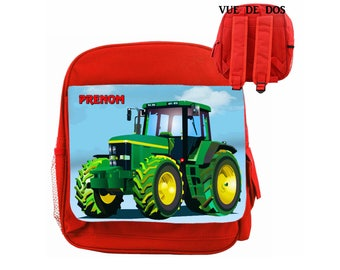 Red heavy duty backpack tractor model child personalized with name choice ref 26 Red