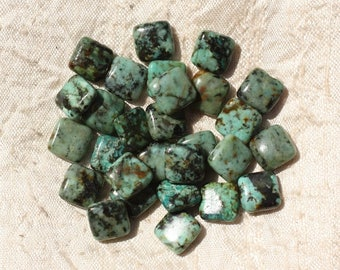 5pc - stone beads - African Turquoise 10mm 4558550018182 squares