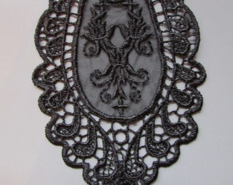 Black Beaded and Sequin Embroidered Applique