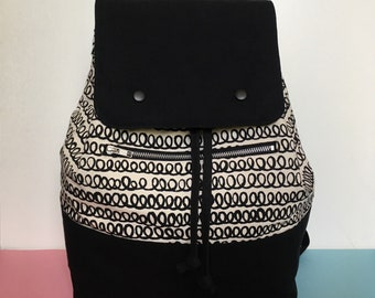 Screen printed Canvas Backpack, Loopy pattern Black Colour Block  Rucksack, Large Backpack, Handmade Backpack, Lottie