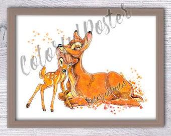 Affiche de bambi bambi famille impression disney enfants - Tenture chambre bebe ...