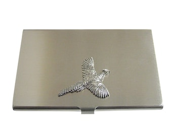 Silver Toned Textured Pheasant Bird Business Card Holder