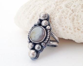 Lake Superior Agate Ring, Size 6 1/2 Sterling Silver Artisan Metalsmith Yellow and Grey Stone, Boho Chic Silversmith Statement Jewelry