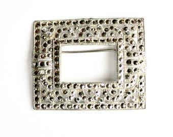 Vintage marcasite frame pin silver tone