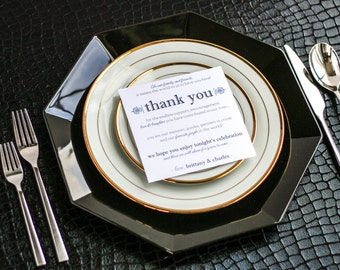 """Blue and Silver, Menu Thank You, Event Thank You, Wedding Thank You Sign - """"European Scroll"""" Reception Thank You Sign 5.25x5.25 - DEPOSIT"""