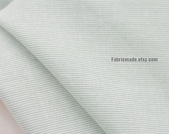 Thin Pin Stripes Cotton Fabric  In Pale Green Cream Yellow Yarn Dye Stripes Cotton -  1/2 yard