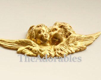 1pcs--Vintage, Cherubs, Metal Stamping, Raw Brass, 20x47mm (B71-3)