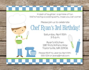 Cooking Party Invitation, Kids Cooking Invitation, Boys Cooking Party, Boys Cooking Birthday, Cooking Invite, Cooking Birthday, PRINTABLE