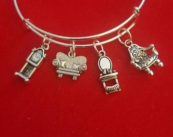 Silver Interior Designer Themed Charm Bracelet