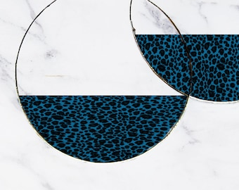 Blue Leopard Print Hoop Earrings, Drop or Dangle, Fake Fur, Transparent Picture Image, Big Hoops, Lightweight Thin, 80's Gift