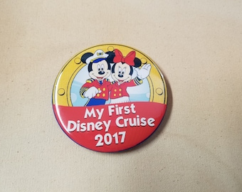 """2018, 2019 Disney Cruise Line Inspired 3"""" Buttons My First Disney Cruise 2017 Fish Extender Gift FE Pin Back Buttons FE"""