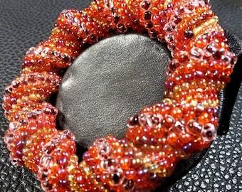 Stunning Sunny Yellow Orange & Red Tones Glass Weaved Bangle Bracelet