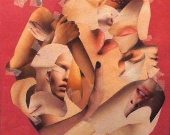 Framed Photomontage Collage Feminist Body Lips Pink Women Art Print