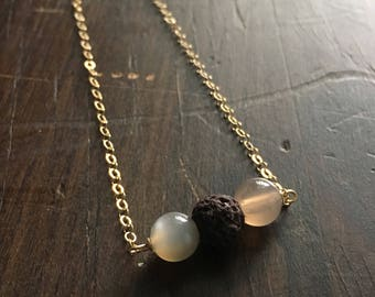 Alchemy | Moonstone and Lava Stone Essential Oil Diffuser Necklace