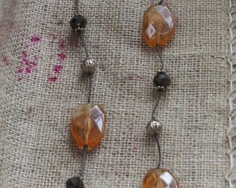Vintage Necklace Costume Jewellery Retro boho Necklace  Lovely Brown coloured Gems