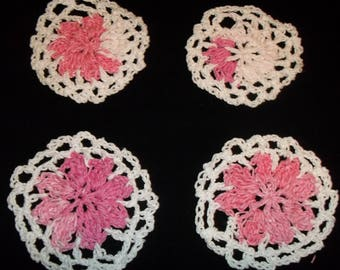Four Crocheted Flower Coasters -100% Handmade  Light Pink,Pink and White